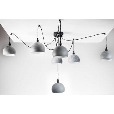 Lampa pająk wisząca żarówka A 7 czarne beton lampa industrialna loftowa testerbis ręcznie robiona 7 żarówek