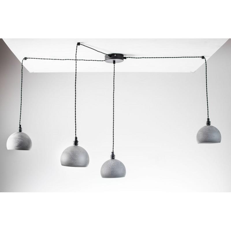 Lampa pająk wisząca żarówka B 4 szara lampa industrialna loftowa testerbis ręcznie robiona 4 żarówek