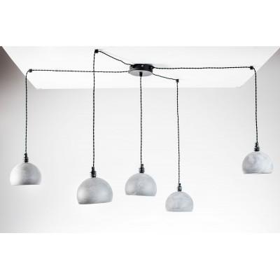 Lampa pająk wisząca żarówka B 5 szara lampa industrialna loftowa testerbis ręcznie robiona 5 żarówek
