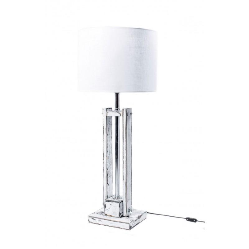 Lampa CLASSIC SMALL biała przecierana z białym abażurem