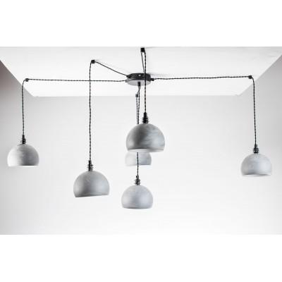 Lampa pająk wisząca żarówka B 6 szara lampa industrialna loftowa testerbis ręcznie robiona 6 żarówek