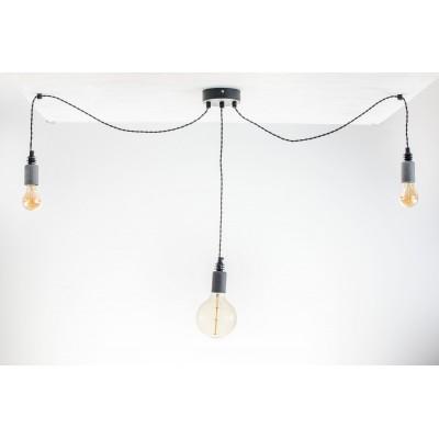 Lampa pająk wisząca żarówka BETON 3NP lampa industrialna loftowa testerbis ręcznie robiona 3 żarówek