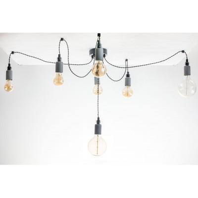 Lampa pająk wisząca żarówka BETON 7NP lampa industrialna loftowa testerbis ręcznie robiona 7 żarówek