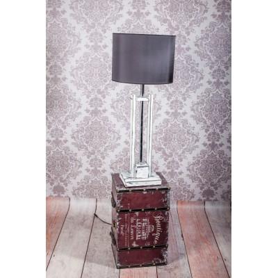 Lampa CLASSIC SMALL biała przecierana z czarnym abażurem