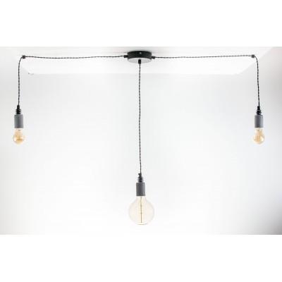 Lampa pająk wisząca żarówka BETON 3NP lampa industrialna loftowa testerbis ręcznie robiona 3 żarówki
