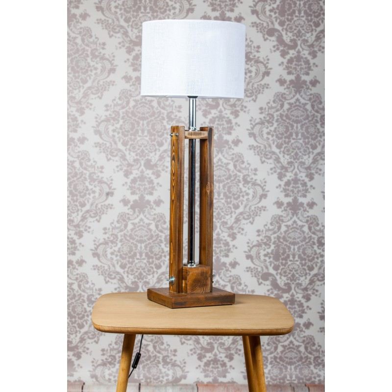 Lampa CLASSIC SMALL brown z białym abażurem