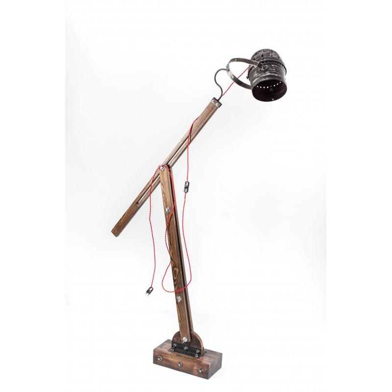 lampa drewniana stojąca reflektor loftowa WOODEN CRANE REFLEKTOR