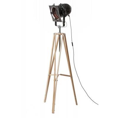 Lampa INDUSTRIALNA podłogowa naturalna/reflektor czarny/miedź/HANDMADE/