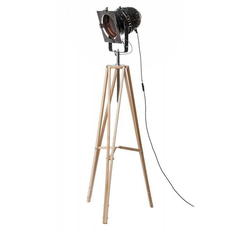 Lampa LOFTOWA podłogowa trójnóg LOFT B reflektor stylowa projektor BLACK czarna miedz reflektor jasne nogi