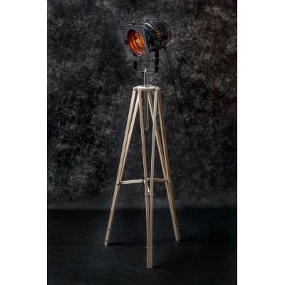 Lampa LOFTOWA podłogowa trójnóg LOFT B reflektor stylowa projektor BLACK czarna miedz reflektor jasne nogi na tle