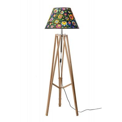 Lampa podłogowa FOLK woskowana ABAŻUR STOŻEK CZARNY