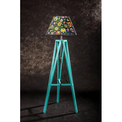 Lampa podłogowa TRIPOD kolor miętowy ABAŻUR STOŻEK BIAŁY