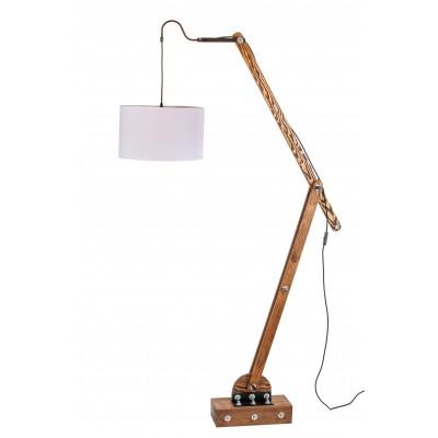 Lampa loftowa stojąca WOODEN CRANE /HANDMADE/ ABAŻUR BIAŁY