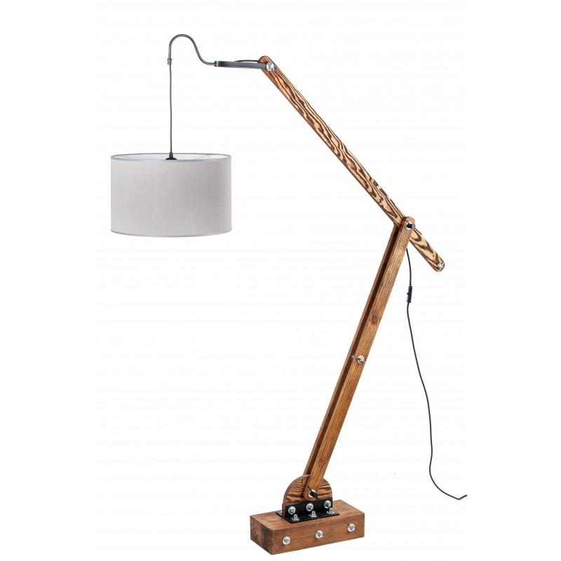 Lampa loftowa stojąca WOODEN CRANE I /HANDMADE/ ABAŻUR SZARY