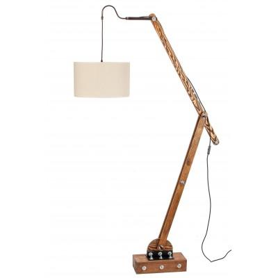 Lampa loftowa stojąca WOODEN CRANE /HANDMADE/ ABAŻUR ECRU
