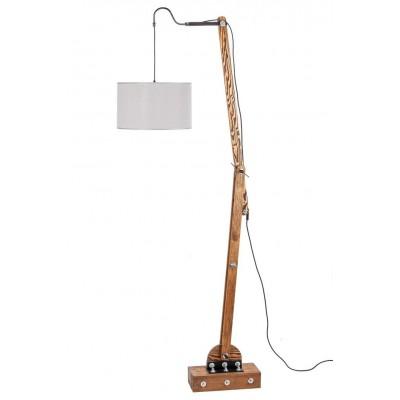 Lampa drewniana stojąca loftowa abazur WOODEN CRANE /HANDMADE/ ABAŻUR ECRU