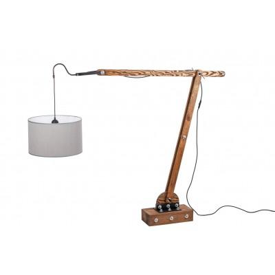 Lampa loftowa stojąca WOODEN CRANE /HANDMADE/ ABAŻUR CZARNY