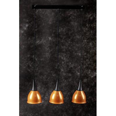 Lampa wisząca MONIC III  ZŁOTO - CZARNA 3 żarówki