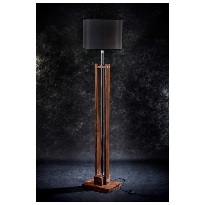 Lampa podłogowa CLASSIC brown/abażur czarny /HANDMADE/