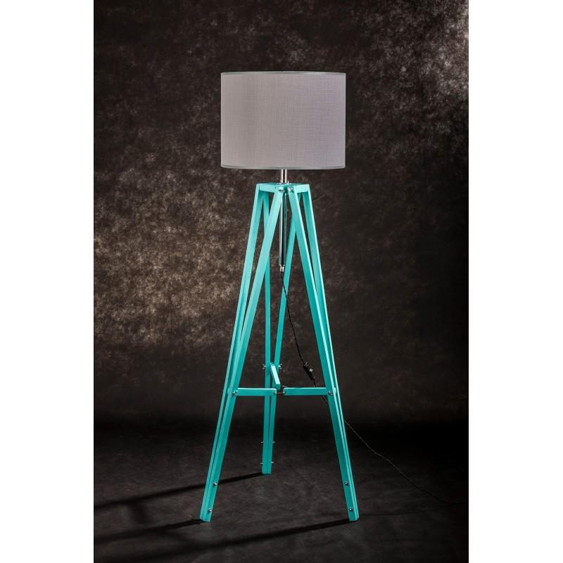 Lampa podłogowa TRIPOD w kolorze miętowym/abażur szary