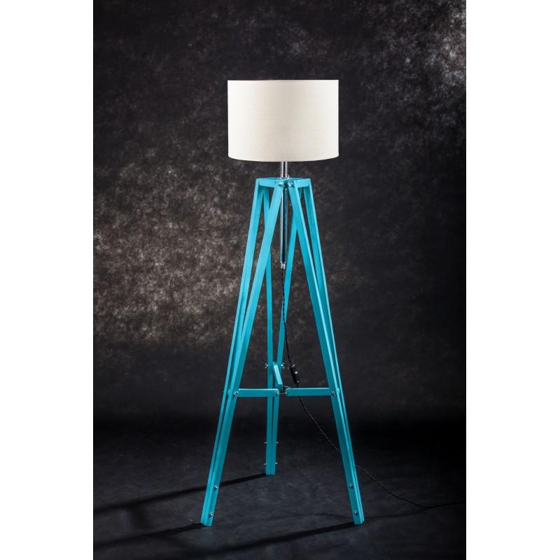 Lampa podłogowa TRIPOD w kolorze turkusu/abażur ecru