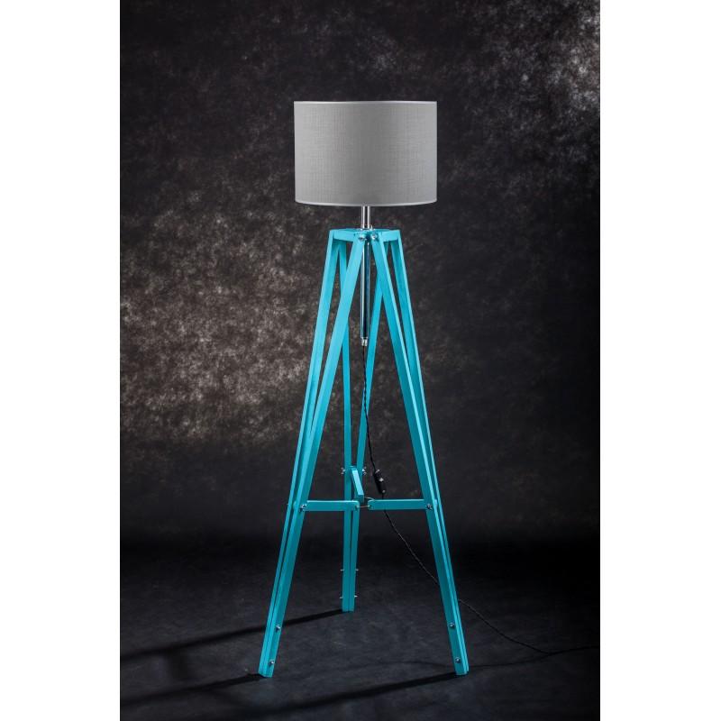 Lampa podłogowa TRIPOD w kolorze turkusu/abażur szary