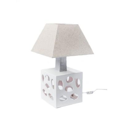 Lampka ceramiczna CUBE w kolorze ecru