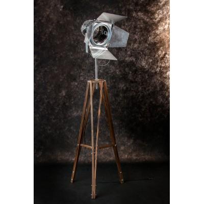 Lampa drewniana stojąca loftowa reflektor exclusive na 3 nogach