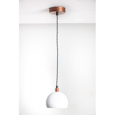 Lampa wisząca TESTER 1L /BIAŁA/MIEDŹ